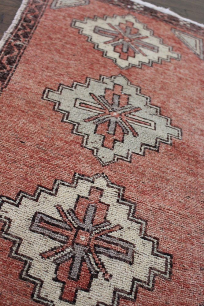 Red And Brown Patterned Vintage Turkish Scatter Rug Angle 3