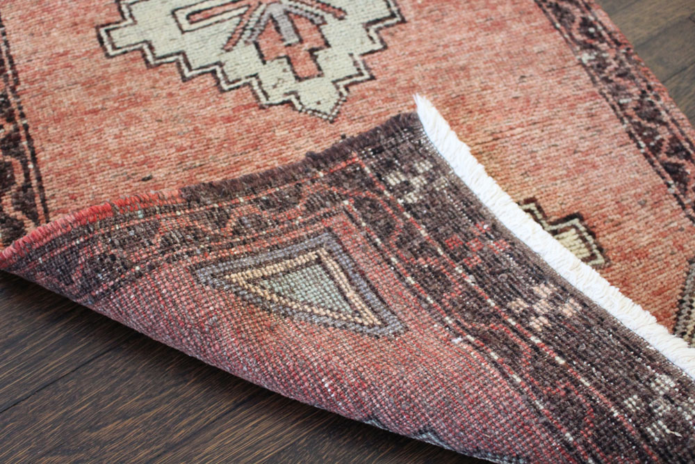 Red And Brown Patterned Vintage Turkish Scatter Rug Angle 4
