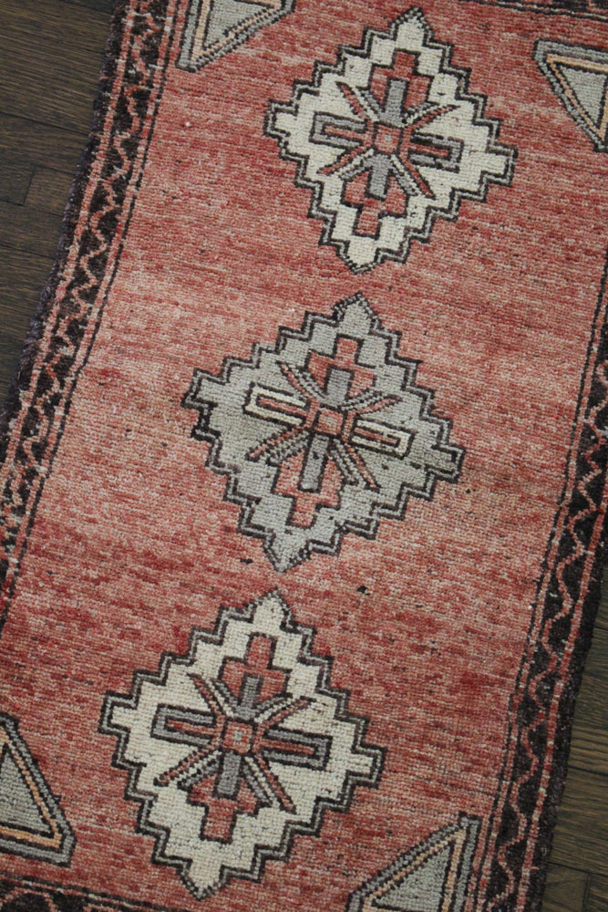 Red And Neutral Patterned Vintage Turkish Scatter Rug Angle 1