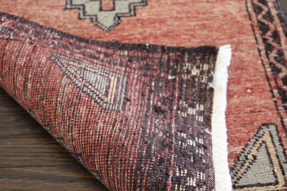 Red And Neutral Patterned Vintage Turkish Scatter Rug Angle 2