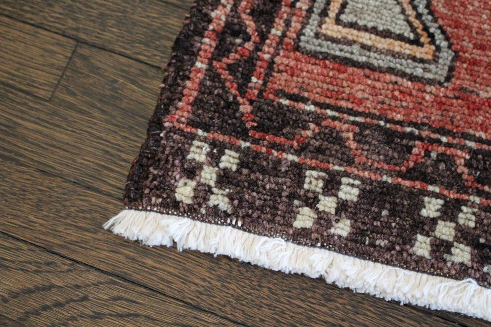 Red And Neutral Patterned Vintage Turkish Scatter Rug Angle 3