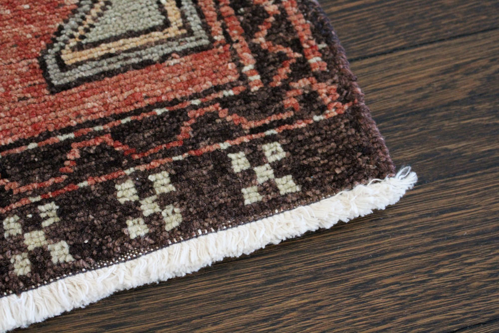 Red And Neutral Patterned Vintage Turkish Scatter Rug Angle 4