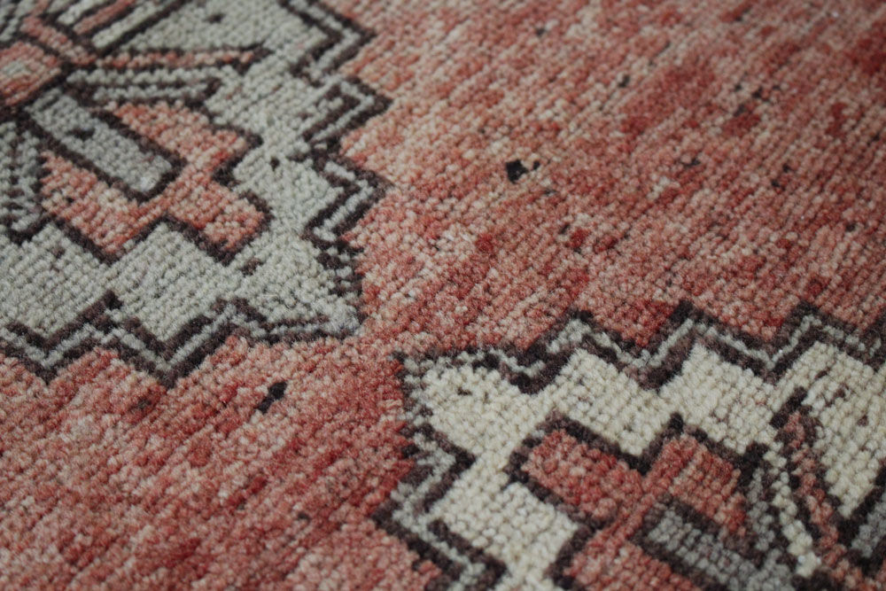 Red And Neutral Patterned Vintage Turkish Scatter Rug Angle 5