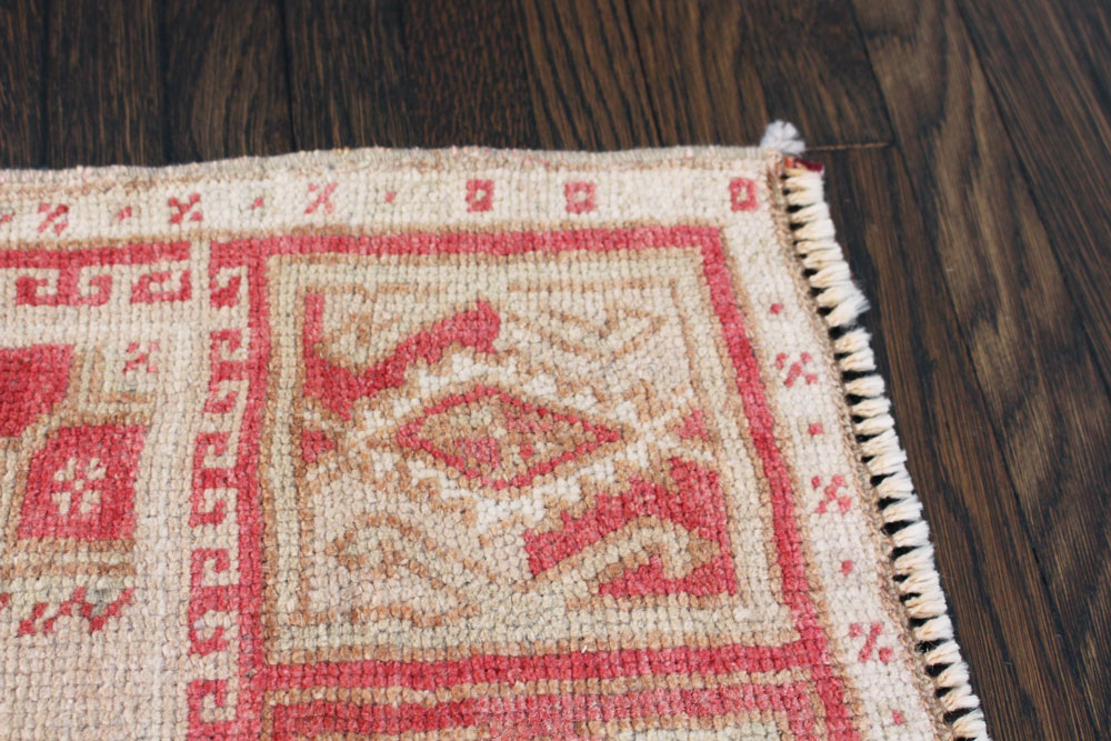 Red And White Patterned Vintage Turkish Scatter Rug Detail