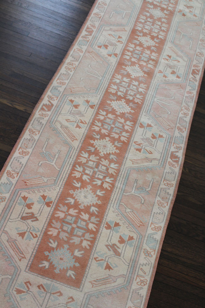 Salmon And Blue Patterned Fay + Belle Runner Angle 1