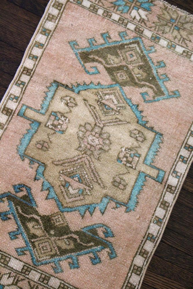 Teal And Brown Patterned Vintage Turkish Scatter Rug Angle 1
