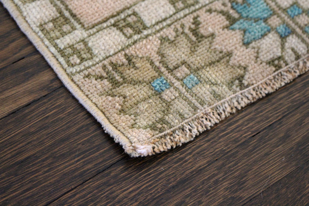 Teal And Brown Patterned Vintage Turkish Scatter Rug Angle 2