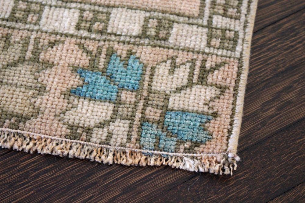 Teal And Brown Patterned Vintage Turkish Scatter Rug Angle 3