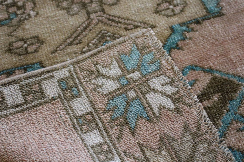 Teal And Brown Patterned Vintage Turkish Scatter Rug Angle 4