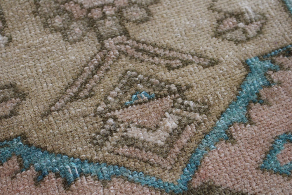 Teal And Brown Patterned Vintage Turkish Scatter Rug Angle 5jpg