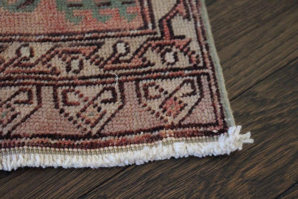 Vintage Red Patterned Fay And Belle Scatter Rug Angle 3