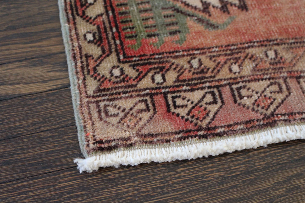 Vintage Red Patterned Fay And Belle Scatter Rug Angle 4jpg