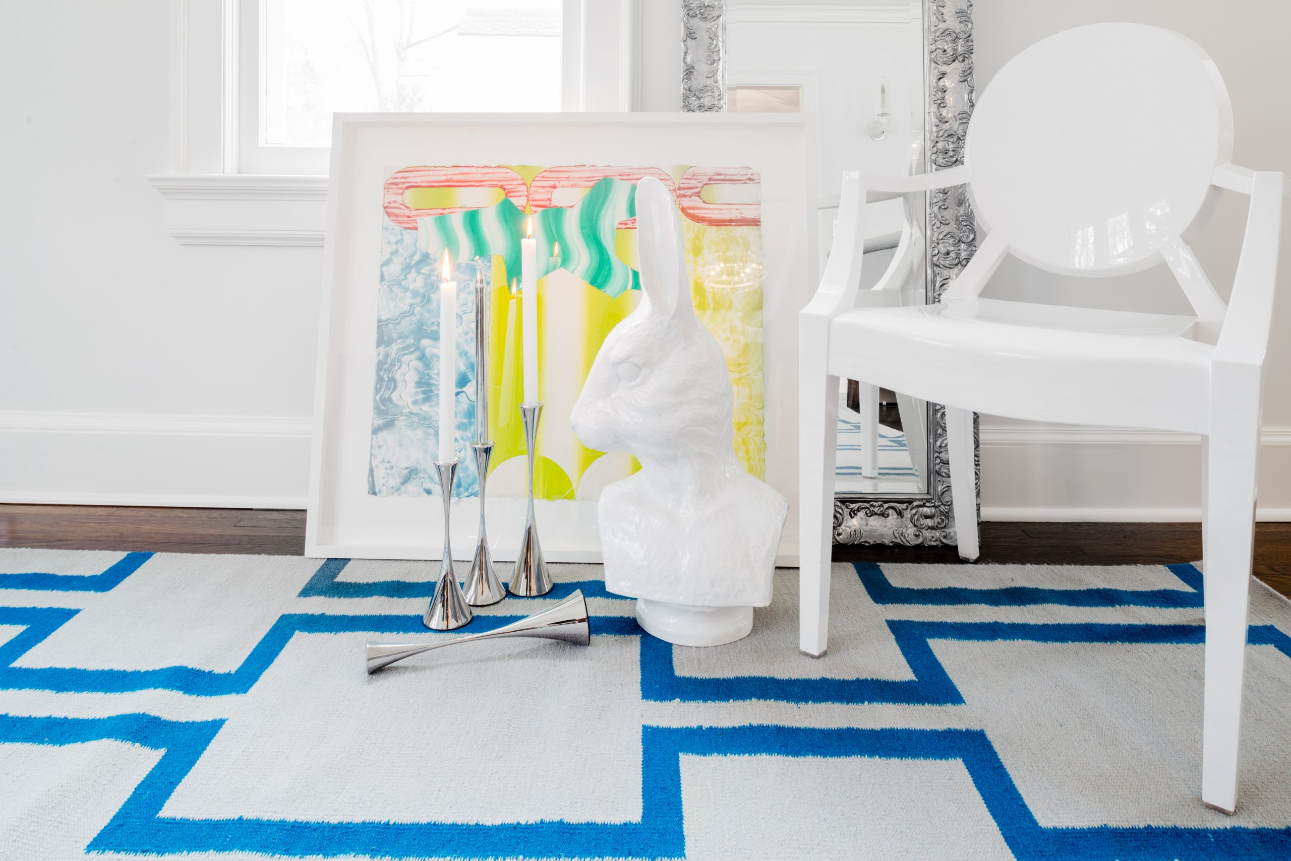 Blue Cream White Maze Designer Nepal Area Rug Living Room