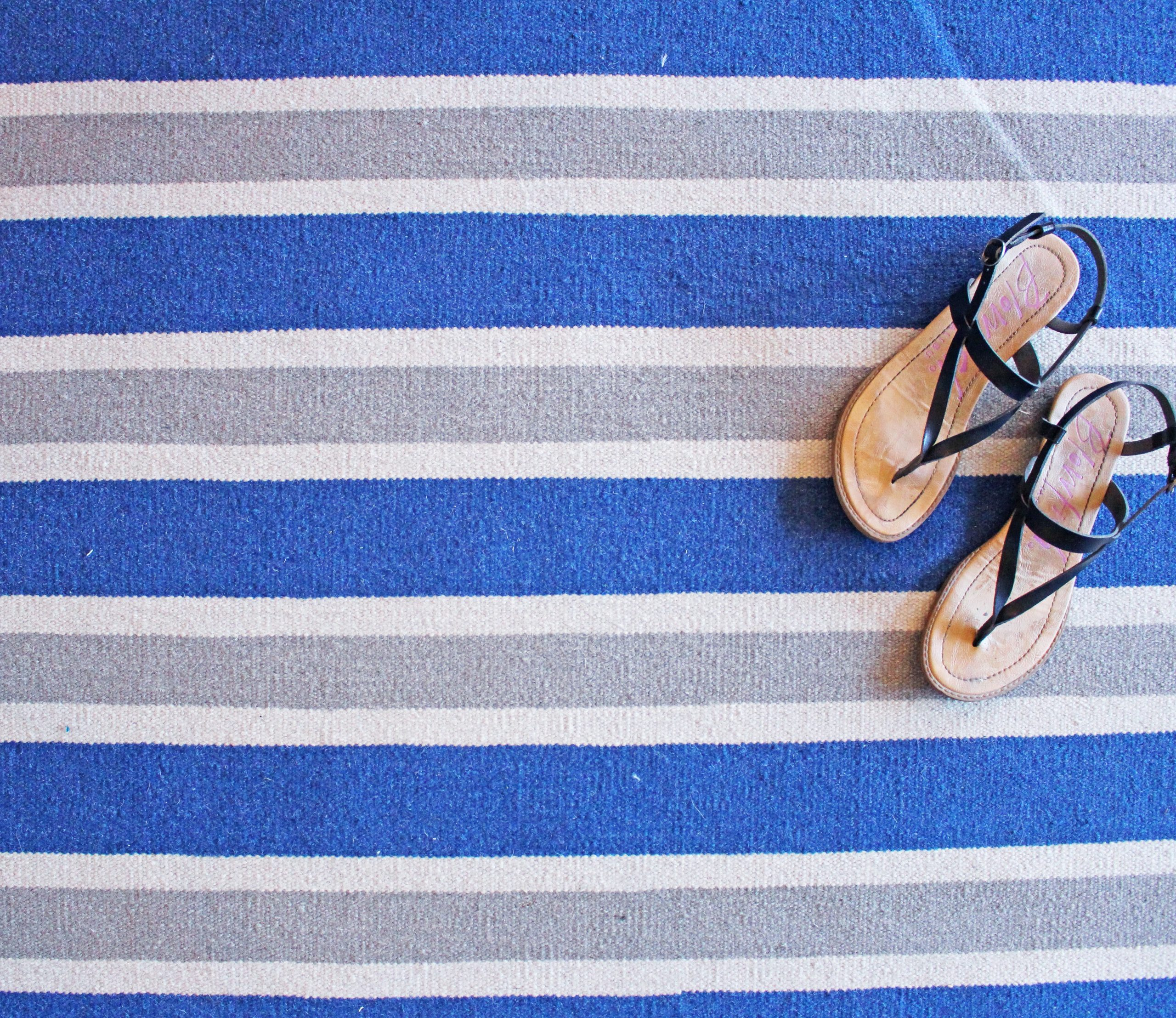Blue Grey White Mini Stripe Designer Nepal Area Rug Overhead