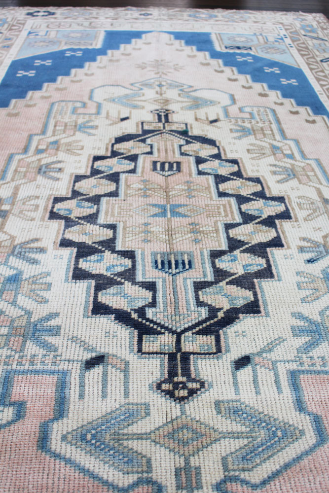 Blue And Neutral Patterned Fay + Belle Area Rug Angle 1