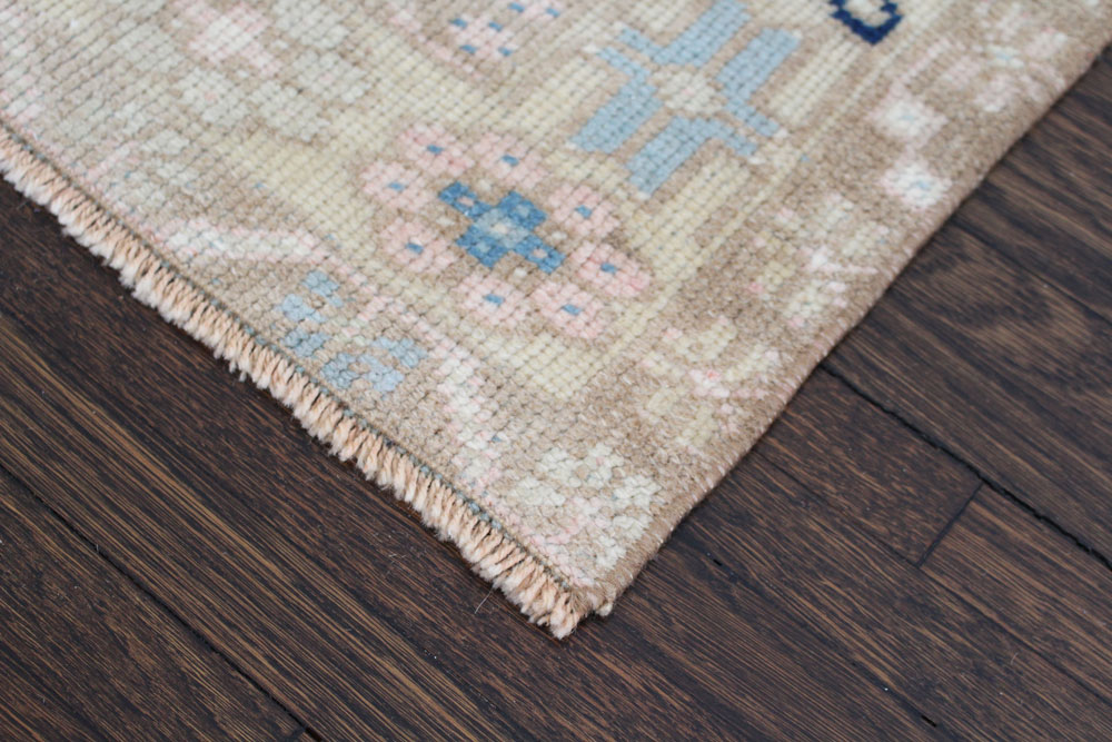 Blue And Neutral Patterned Fay + Belle Area Rug Angle 3