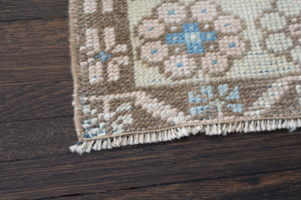 Blue And Neutral Patterned Fay + Belle Area Rug Angle 4