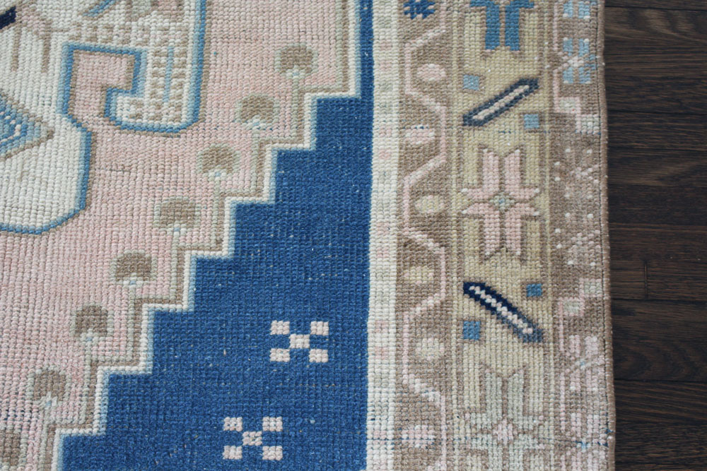 Blue And Neutral Patterned Fay + Belle Area Rug Angle 5