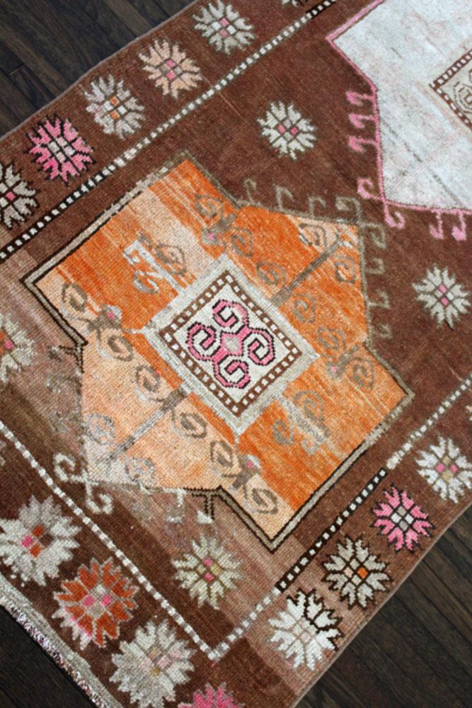 Brown And Orange Patterned Vintage Turkish Runner Angle 2