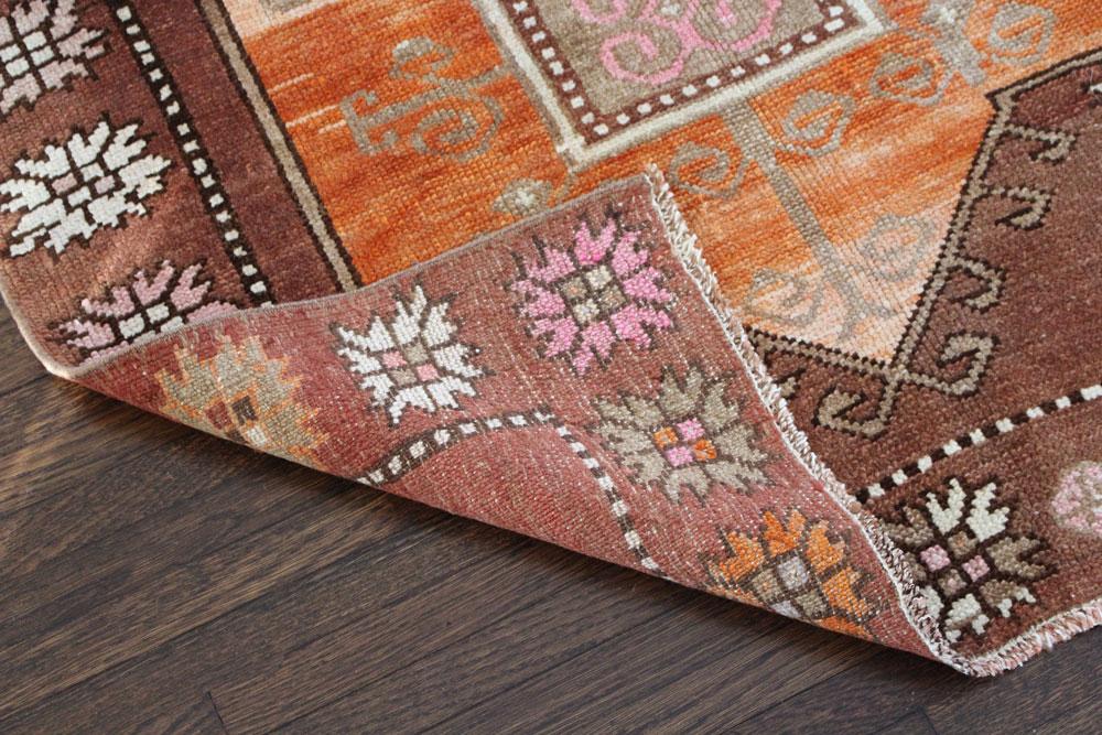 Brown And Orange Patterned Vintage Turkish Runner Angle 5