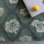 Custom Pattern Nepalese Rug Blooming Green White Roses Overhead