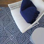 Custom Pattern Nepalese Rug Illusion Overhead Blue