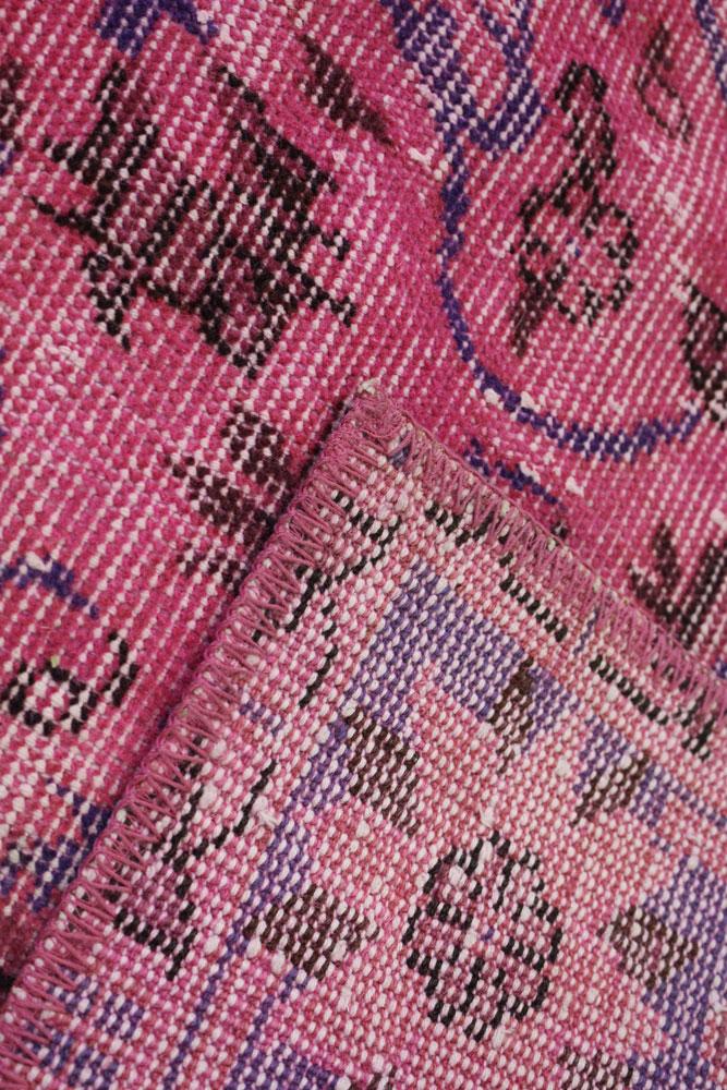Fuchsia Blue Vintage Turkish Area Rug