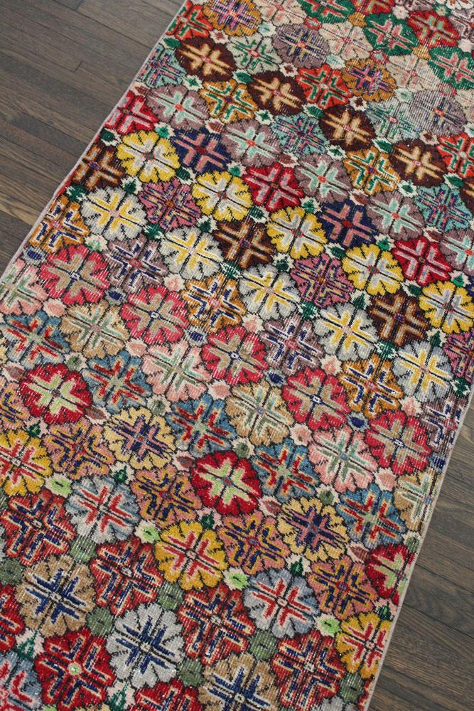 Multicolor Floral Patterned Vintage Turkish Runner Angle 1