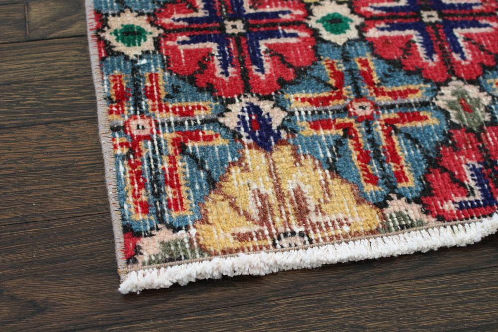 Multicolor Floral Patterned Vintage Turkish Runner Angle 2