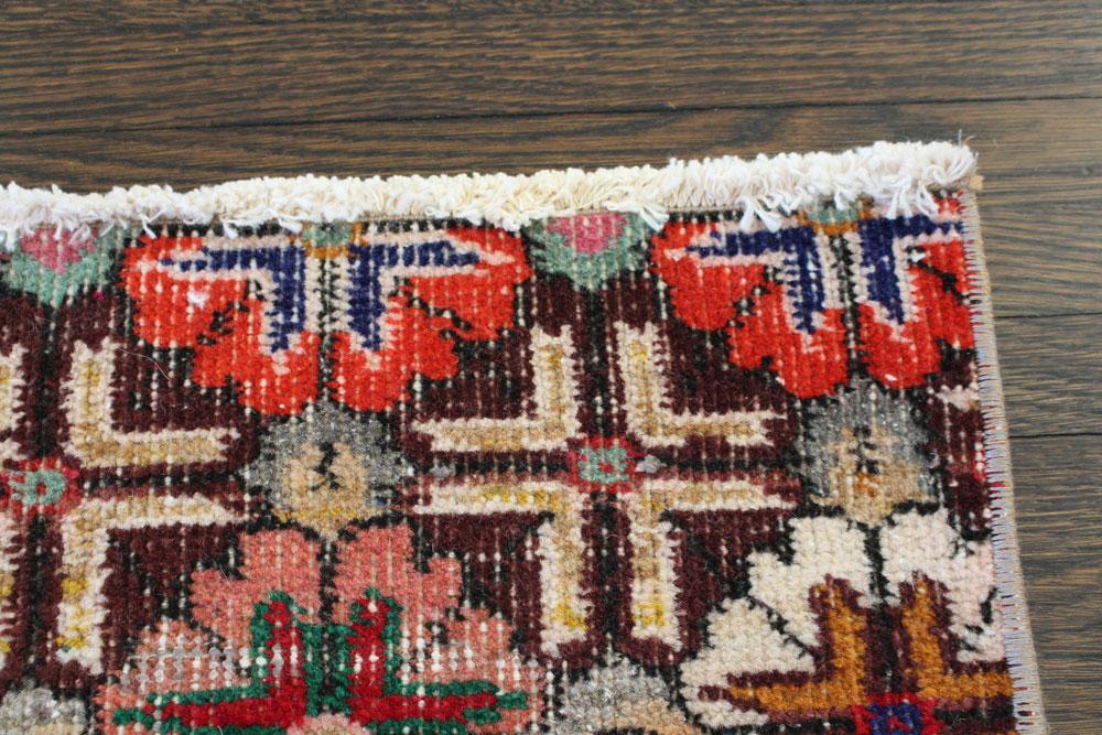 Multicolor Floral Patterned Vintage Turkish Runner Angle 3