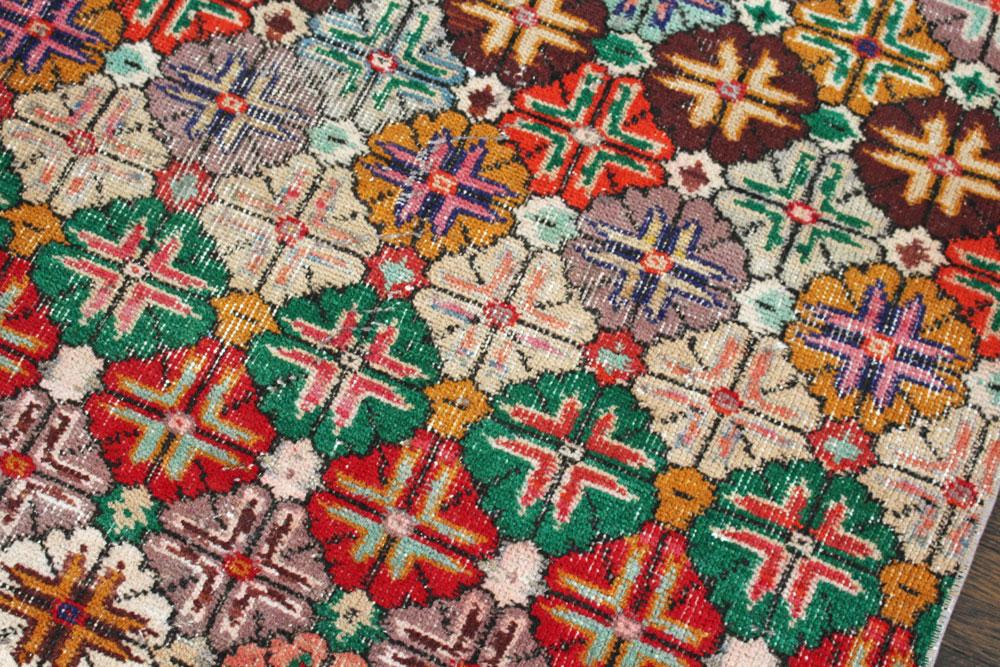 Multicolor Floral Patterned Vintage Turkish Runner Angle 5