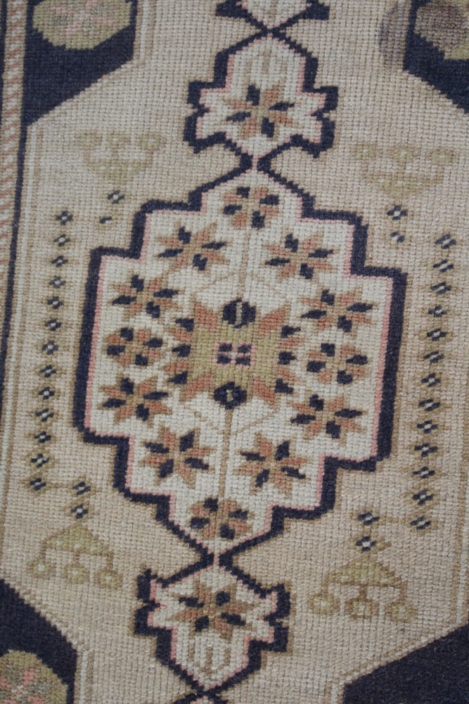 Navy Neutral And Mauve Patterned Fay And Belle Scatter Rug Angle 1