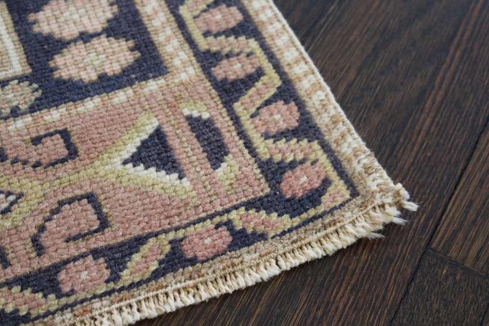 Navy Neutral And Mauve Patterned Fay And Belle Scatter Rug Angle 3