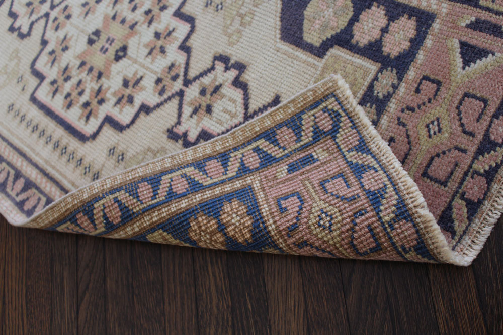 Navy Neutral And Mauve Patterned Fay And Belle Scatter Rug Angle 4