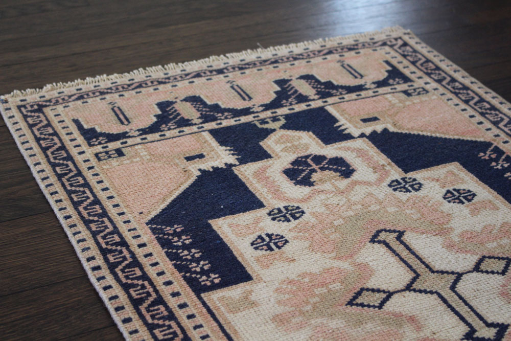 Navy And Salmon Patterned Vintage Turkish Scatter Rug Angle 1