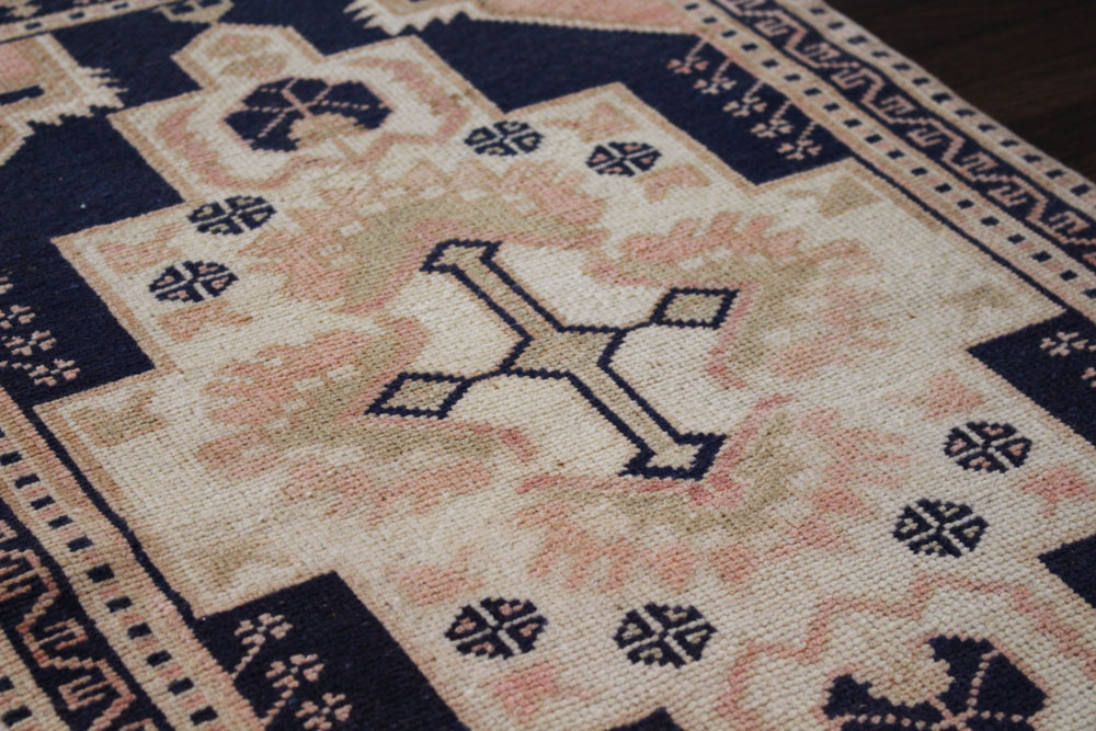 Navy And Salmon Patterned Vintage Turkish Scatter Rug Angle 2