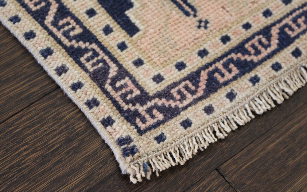 Navy And Salmon Patterned Vintage Turkish Scatter Rug Angle 3