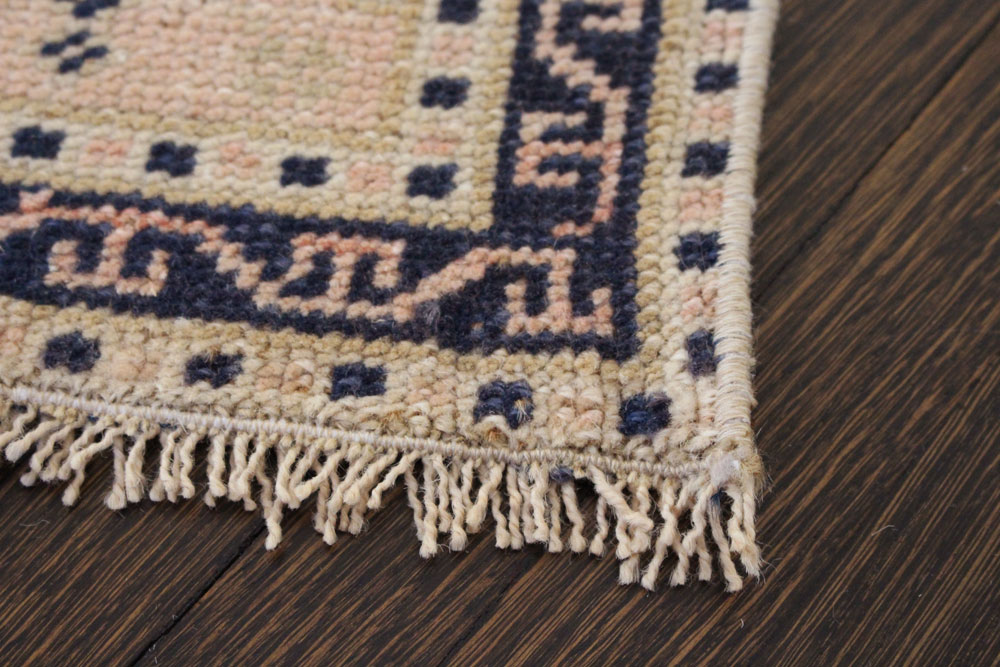 Navy And Salmon Patterned Vintage Turkish Scatter Rug Angle 4