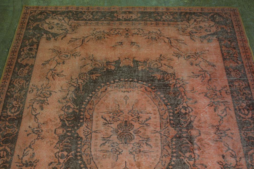 Orange Brown Patterned Vintage Turkish Rug
