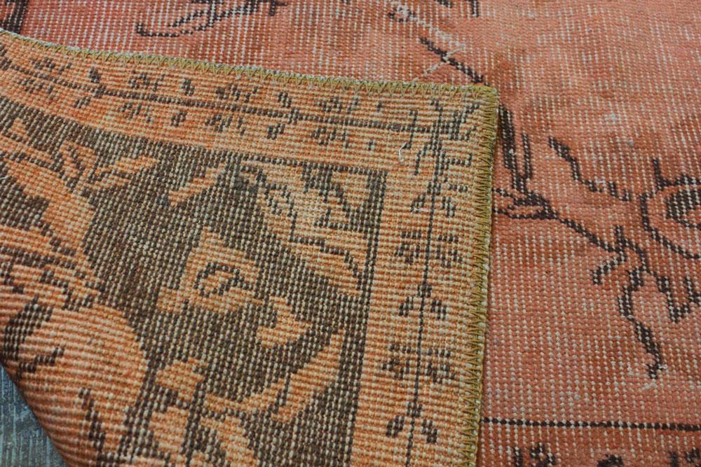 Orange Brown Patterned Vintage Turkish Rug2