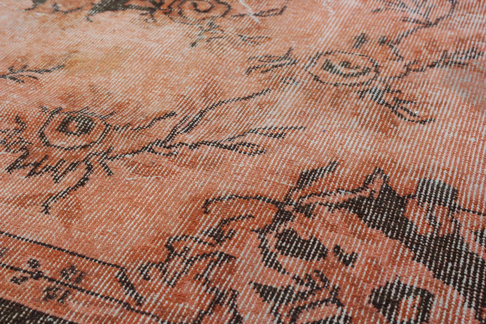 Orange Brown Patterned Vintage Turkish Rug4