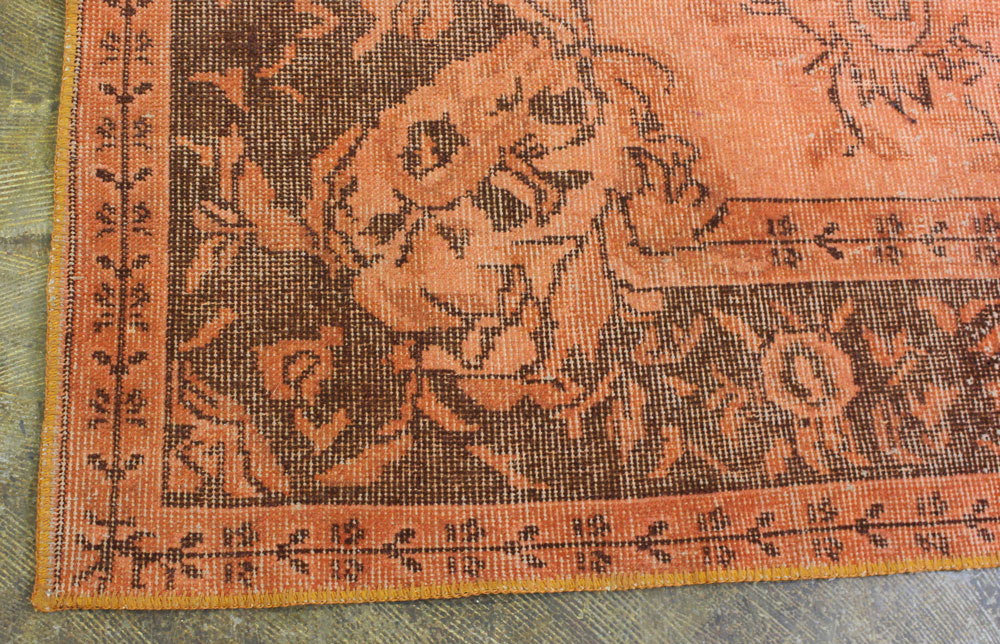 Orange Brown Patterned Vintage Turkish Rug6