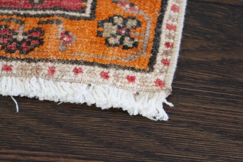 Red And Orange Patterned Vintage Turkish Scatter Rug Angle 1