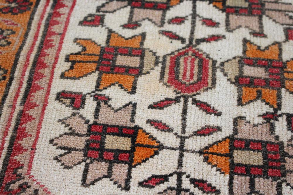 Red And Orange Patterned Vintage Turkish Scatter Rug Angle 4