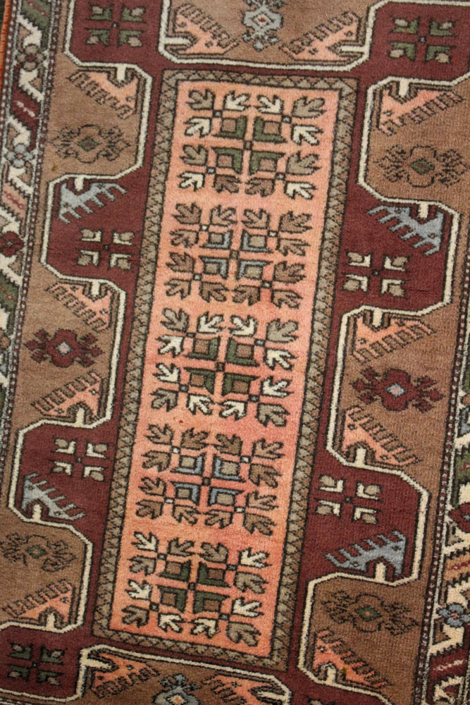 Rust Patterned Vintage Turkish Scatter Rug Angle 1