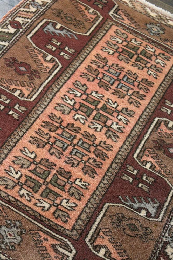 Rust Patterned Vintage Turkish Scatter Rug Angle 2