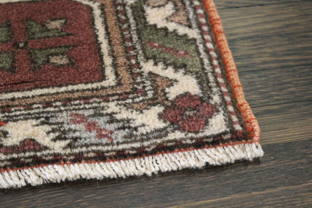 Rust Patterned Vintage Turkish Scatter Rug Angle 3