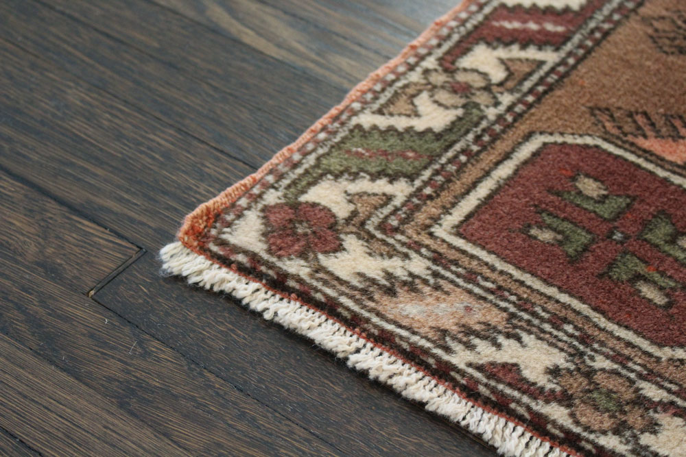 Rust Patterned Vintage Turkish Scatter Rug Angle 4