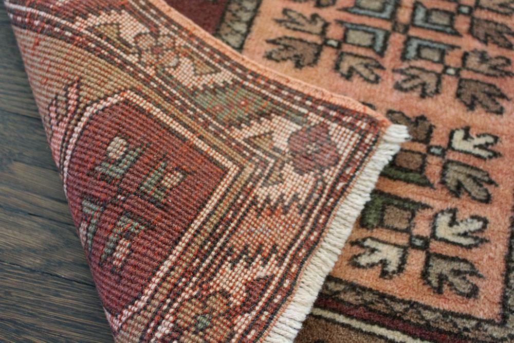 Rust Patterned Vintage Turkish Scatter Rug Angle 5