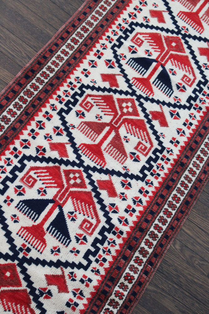Red And Blue Patterned Vintage Turkish Runner Angle 1